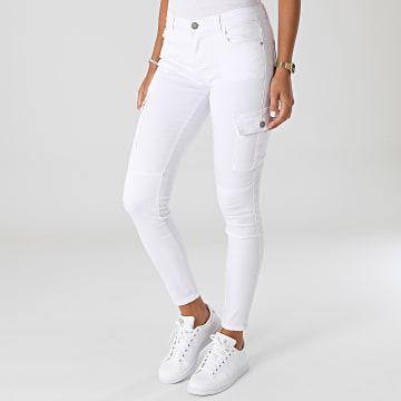 Girls Outfit - Pantalon Cargo Slim Femme S353 Blanc