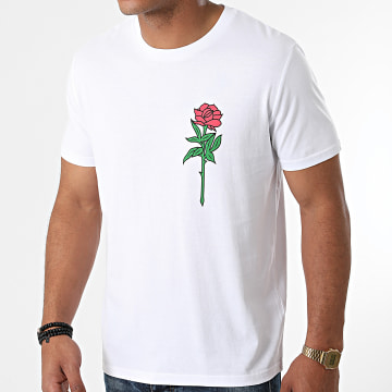 Luxury Lovers - Tee Shirt Colored Rose Chest Blanc