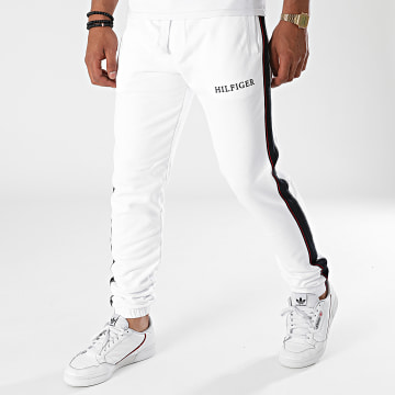 Tommy Hilfiger - Pantalon Jogging A Bandes Taped Hilfiger 8722 Blanc