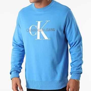 Calvin Klein - Sweat Crewneck Monogram Regular 5595 Bleu Azur