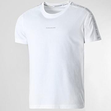 Calvin Klein - Tee Shirt A Bandes Logo Jacquard Shoulder 8456 Blanc