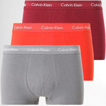 Calvin Klein - Lot De 3 Boxers Cotton Stretch U2664G Rouge Bordeaux gris