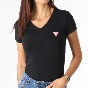 Guess - Tee Shirt Femme Col V W1YI1A-J1311 Noir
