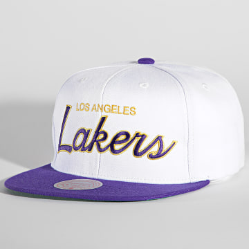 Mitchell and Ness - Casquette Snapback Heritage Script Los Angeles Lakers Blanc
