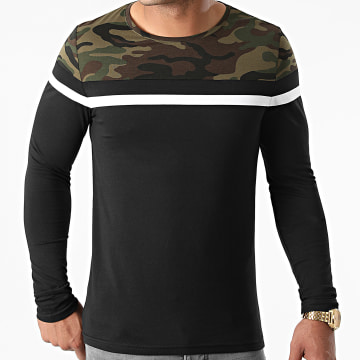 LBO - Tee Shirt Manches Longues Tricolore 1899 Camouflage Noir