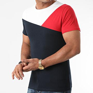 LBO - Tee Shirt Tricolore 1821 Bleu Marine Rouge Blanc