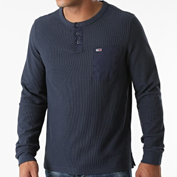 Tommy Jeans - Tee Shirt Poche Manches Longues Waffle Pocket 1062 Bleu Marine