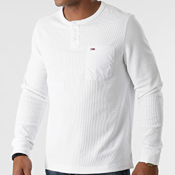Tommy Jeans - Tee Shirt Poche Manches Longues Waffle Pocket 1062 Blanc