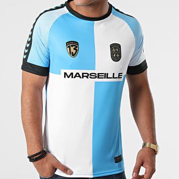 Foot - Tee Shirt De Sport Marseille Bleu Ciel Blanc
