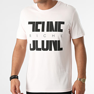 Jeune Riche - Tee Shirt Divided Rose Pastel Noir