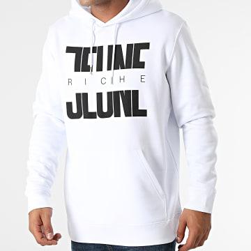 Jeune Riche - Sweat Capuche Divided Blanc Noir