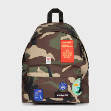 Eastpak - Sac A Dos Padded Pak'r Patched Camouflage Vert Kaki