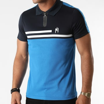 NI by Ninho - Polo Manches Courtes A Bandes Shaft Bleu Azur Bleu Marine