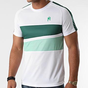 NI by Ninho - Tee Shirt A Bandes Magnum Blanc Vert