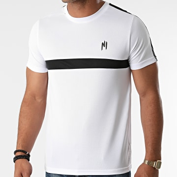 NI by Ninho - Tee Shirt A Bandes Colt Blanc