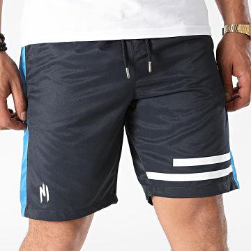 NI by Ninho - Short Jogging A Bandes Shaft Bleu Marine