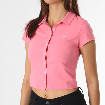 Tommy Jeans - Polo Manches Courtes Femme Button Through 0352 Rose