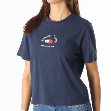 Tommy Jeans - Tee Shirt Femme Crop Timeless Tommy 0417 Bleu Marine