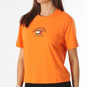 Tommy Jeans - Tee Shirt Femme Crop Timeless Tommy 0417 Orange