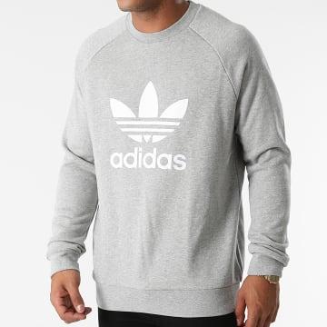 Adidas Originals - Sweat Crewneck A Bandes Trefoil H06650 Gris Chiné