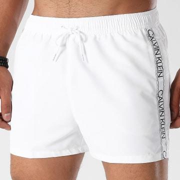 Calvin Klein - Short De Bain A Bandes Short Drawstring 0671 Blanc