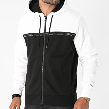Calvin Klein - Sweat Zippé Capuche Logo Stripe 7250 Noir Blanc
