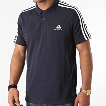 Adidas Performance - Polo Manches Courtes A Bandes GK9100 Bleu Marine