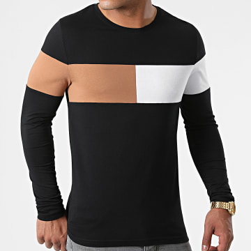 LBO - Tee Shirt Manches Longues Empiècement Bicolore 1803 Noir Camel