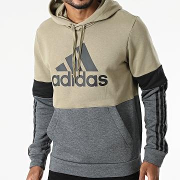 Adidas Performance - Sweat Capuche A Bandes CB GV5241 Gris Anthracite Vert Kaki Clair