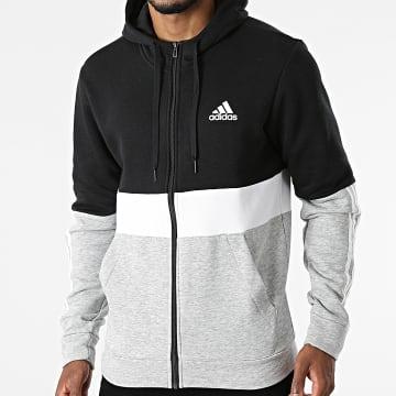 Adidas Performance - Sweat Zippé Capuche A Bandes CB GV5244 Gris Chiné Noir