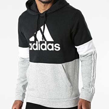 Adidas Performance - Sweat Capuche A Bandes CB H14646 Gris Chiné Noir