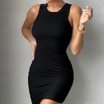 Club L London - Robe Débardeur Femme Side Hussle Noir