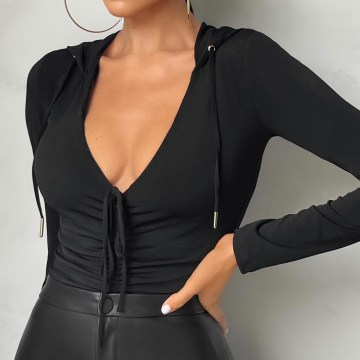 Club L London - Body Manches Longues Femme One Time Only Noir