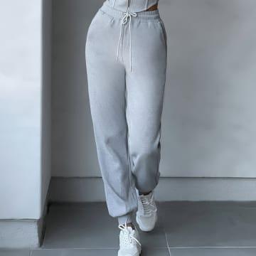 Club L London - Pantalon Jogging Femme All Day Hussle Gris Chiné