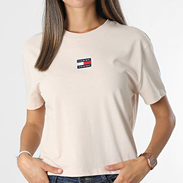 Tommy Jeans - Tee Shirt Femme Center Badge Rose Clair