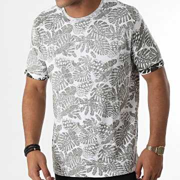 Brave Soul - Tee Shirt Magnify Blanc Vert Kaki Chiné Floral