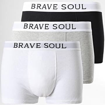 Brave Soul - Lot De 3 Boxers Clarkb Noir Blanc Gris Chiné