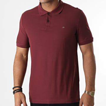 Calvin Klein - Polo Manches Courtes Refined Pique Logo 2758 Bordeaux