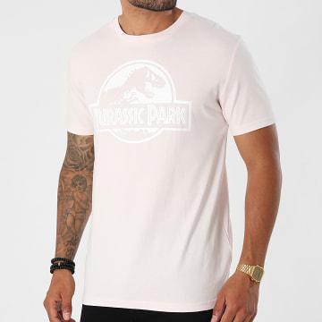 Jurassic Park - Tee Shirt Logo Rose Pastel Blanc