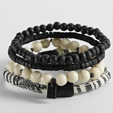 Icon Brand - Bracelet Multi-Rangs B600 Noir Beige
