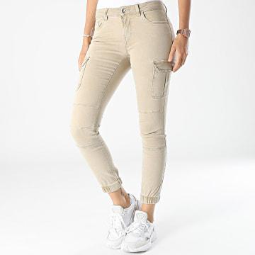 Only - Pantalon Cargo Skinny Femme Missouri Beige