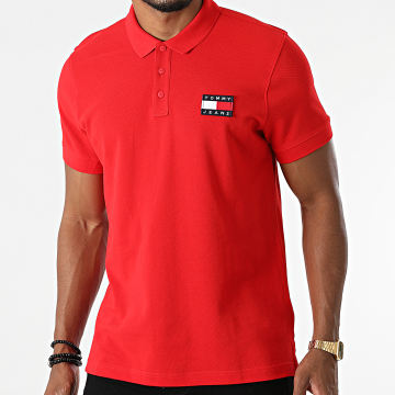 Tommy Jeans - Polo Manches Courtes Tommy Badge 0327 Rouge