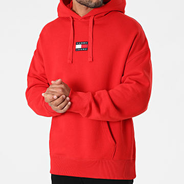 Tommy Jeans - Sweat Capuche Tommy Badge 0904 Rouge