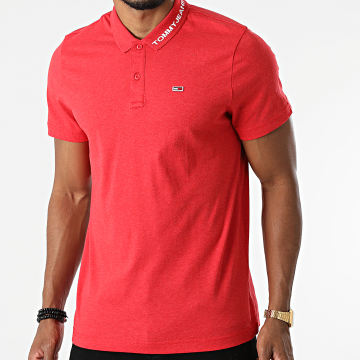 Tommy Jeans - Polo Manches Courtes Reg Jersey 0917 Rouge Chiné
