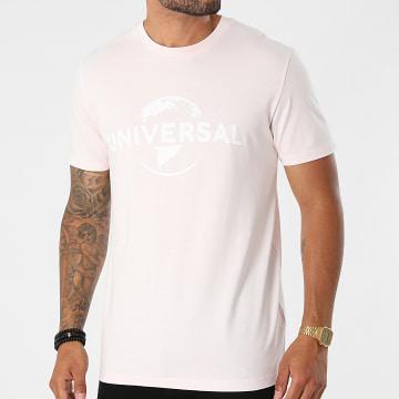 Universal Studio - Tee Shirt Logo Rose Pastel Blanc