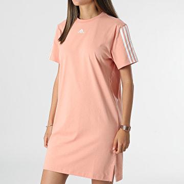 Adidas Performance - Robe Tee Shirt Femme A Bandes H10236 Rose