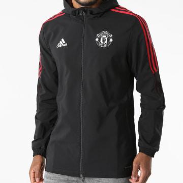 Adidas Performance - Veste Zippée Capuche A Bandes Manchester United GV1570 Noir