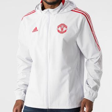 Adidas Performance - Veste Zippée Capuche A Bandes Manchester United GR3808 Gris Clair