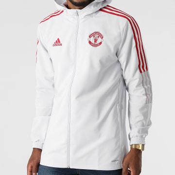 Adidas Performance - Veste Zippée Capuche A Bandes Manchester United GV1570 Gris Clair