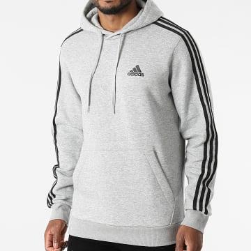 Adidas Performance - Sweat Capuche A Bandes 3 Stripes GK9084 Gris Chiné